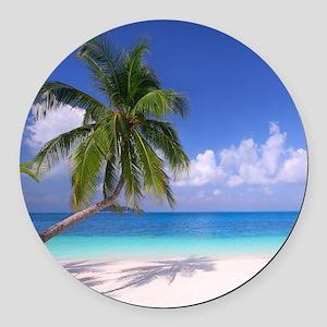 Tropical Beach Round Car Magnet