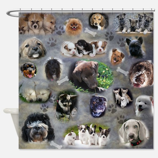 Happy Puppies Shower Curtain