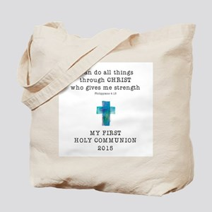 First Communion Blue I Can Do All Things Tote Bag