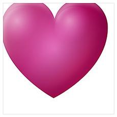 3D Magenta Heart Poster