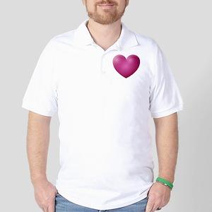 3D Magenta Heart Golf Shirt