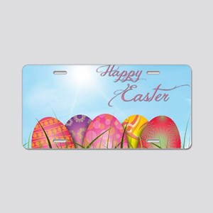 Happy Easter Decorated Eggs Aluminum License Plate