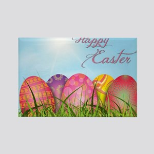 Happy Easter Decorated Eggs Rectangle Magnet