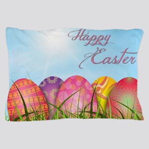 Happy Easter Decorated Eggs Pillow Case
