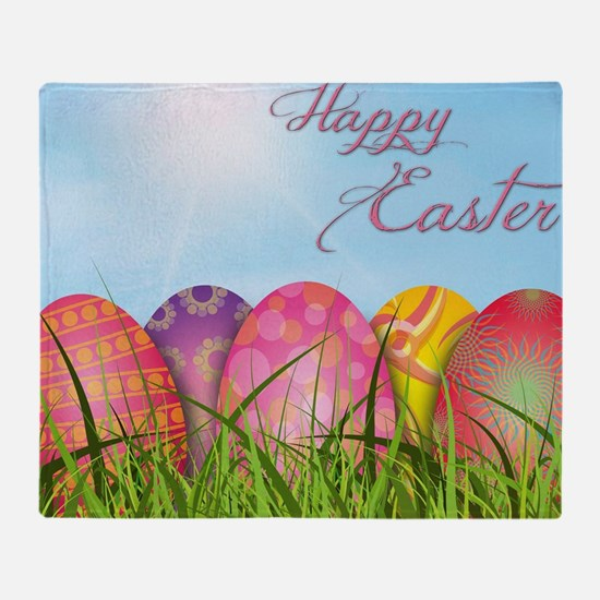 Happy Easter Decorated Eggs Throw Blanket