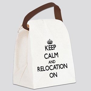 Keep Calm and Relocation ON Canvas Lunch Bag