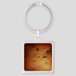 Autmn Leaf Swirl Square Keychain