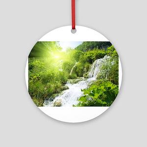 Beautiful Green Nature And Waterfall Ornament (Rou