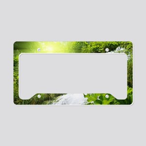 Beautiful Green Nature And Waterfall License Plate