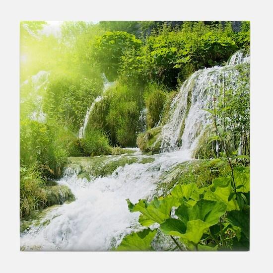 Beautiful Green Nature And Waterfall Tile Coaster