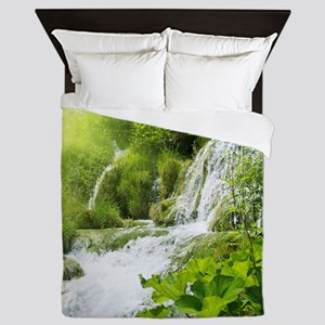 Beautiful Green Nature And Waterfall Queen Duvet