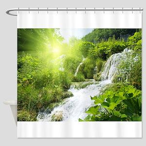 Beautiful Green Nature And Waterfall Shower Curtai