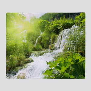 Beautiful Green Nature And Waterfall Throw Blanket