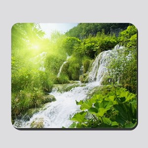 Beautiful Green Nature And Waterfall Mousepad