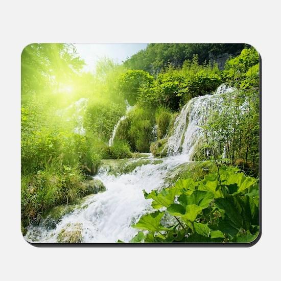 Beautiful Green Nature And Waterfall Mousepad