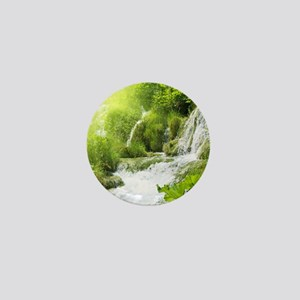 Beautiful Green Nature And Waterfall Mini Button