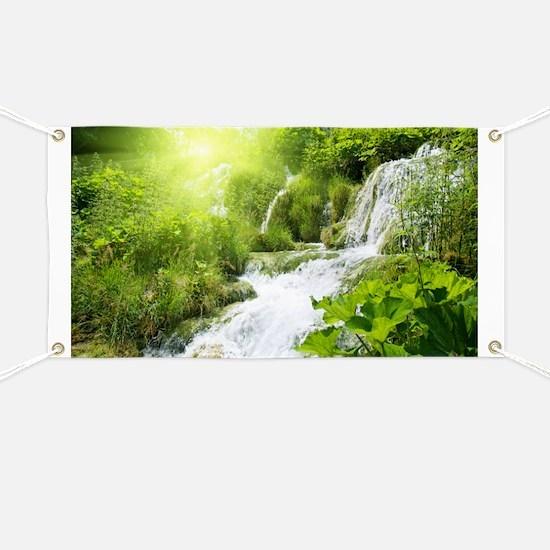 Beautiful Green Nature And Waterfall Banner