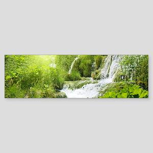 Beautiful Green Nature And Waterfall Bumper Sticke