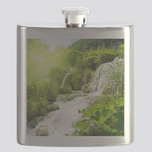Beautiful Green Nature And Waterfall Flask