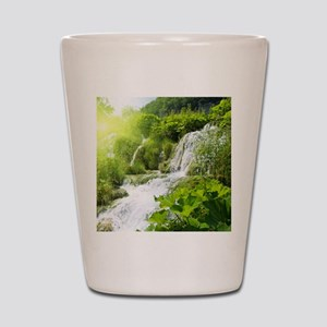 Beautiful Green Nature And Waterfall Shot Glass