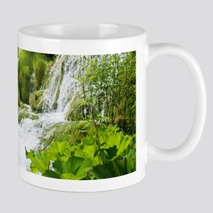 Beautiful Green Nature And Waterfall Mugs