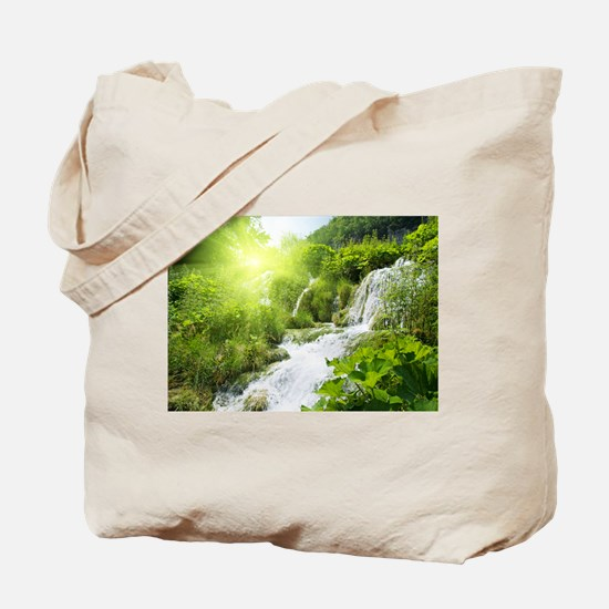 Beautiful Green Nature And Waterfall Tote Bag