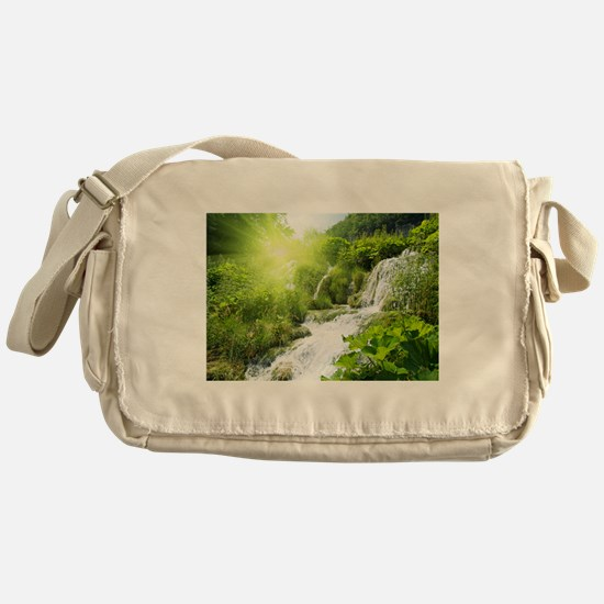 Beautiful Green Nature And Waterfall Messenger Bag