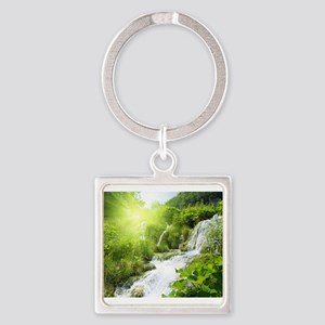 Beautiful Green Nature And Waterfall Keychains