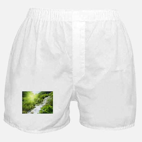 Beautiful Green Nature And Waterfall Boxer Shorts