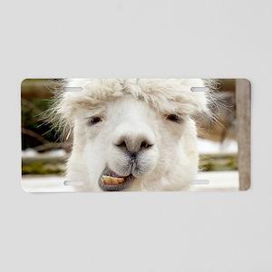 Funny Alpaca Smile Aluminum License Plate