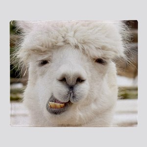 Funny Alpaca Smile Throw Blanket