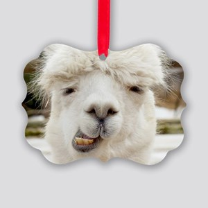 Funny Alpaca Smile Picture Ornament