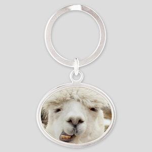 Funny Alpaca Smile Oval Keychain