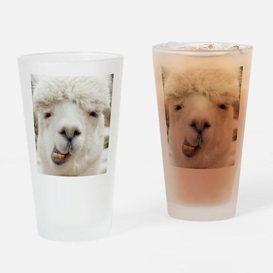 Funny Alpaca Smile Drinking Glass