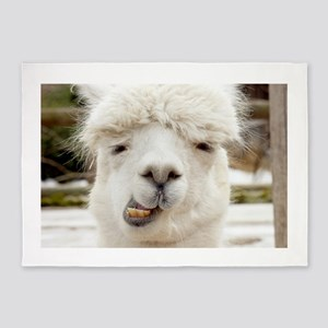 Funny Alpaca Smile 5'x7'Area Rug