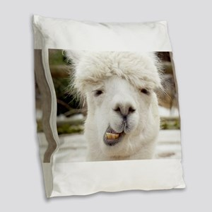 Funny Alpaca Smile Burlap Throw Pillow