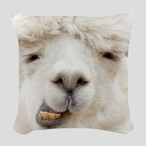 Funny Alpaca Smile Woven Throw Pillow