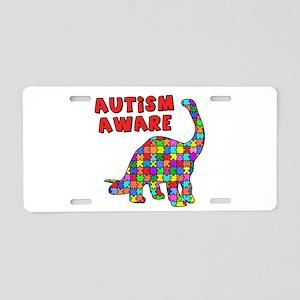 Autism Aware Dinosaur Aluminum License Plate