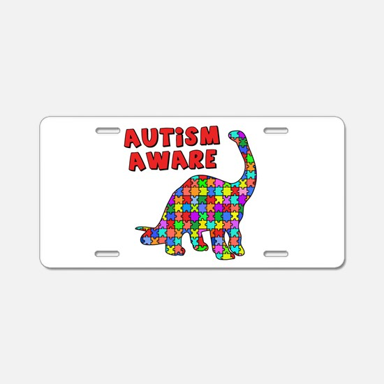 Autism Aware Dinosaur Aluminum License Plate
