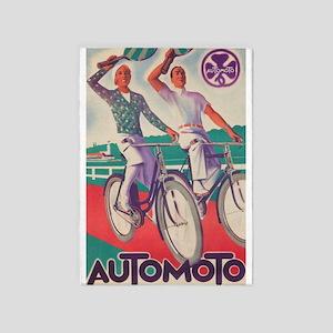 Vintage Bicycle Poster 5'x7'area Rug