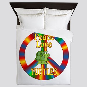 Peace Love Turtles Queen Duvet