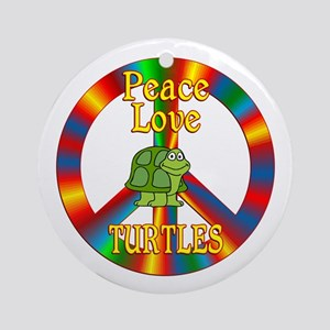 Peace Love Turtles Ornament (Round)