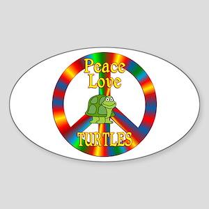 Peace Love Turtles Sticker (Oval)