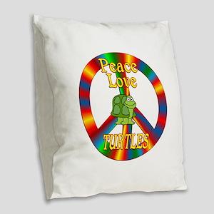 Peace Love Turtles Burlap Throw Pillow