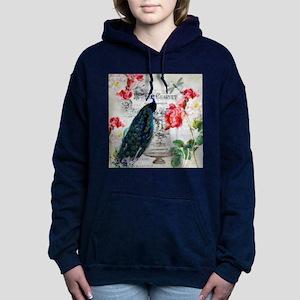 Peacock and roses Women's Hooded Sweatshirt