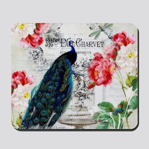 Peacock and roses Mousepad