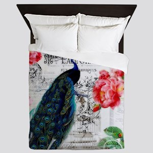 Peacock and roses Queen Duvet