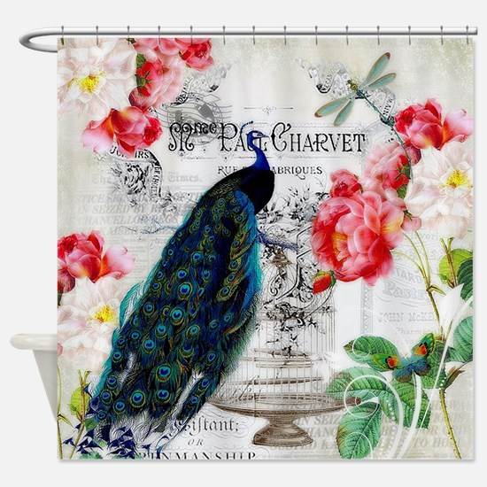 Peacock and roses Shower Curtain