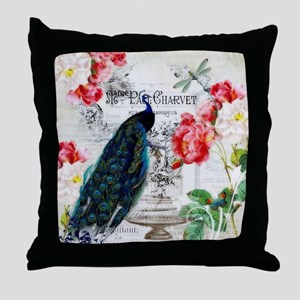 Peacock and roses Throw Pillow