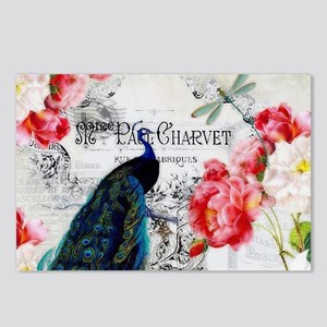 Peacock and roses Postcards (Package of 8)